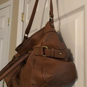 Tan faux leather bag, great condition hardly used!